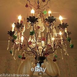 Antique Vintage Italian Crystal Directoire Murano Glass Fruit Chandelier 12 Lite