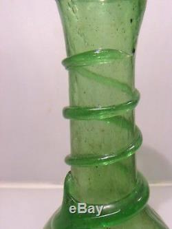 Antique Vintage Pulegoso Glass Bottle Vase Spiral Roman Murano