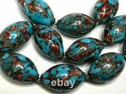 Antique Vintage Venetian Turquoise Blue Murano Choker Foil Beads Glass Necklace