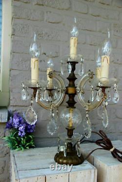 Antique xl murano Girandole Crystal glass pendants drops lamp 5 arms rare
