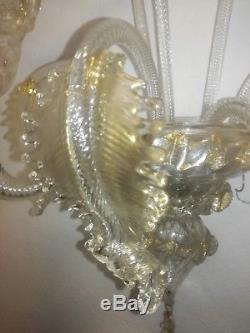 Applique lampada vetro di Murano oro 24K vintage classica wall sconce glass