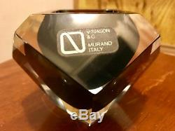 Awesome Vtg MCM Vincenzo Nason Murano Sommerso Faceted Geode Bowl Orig Label