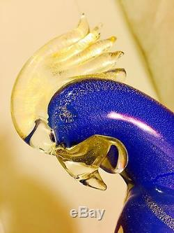 Awesome Vtg Murano Art Glass Tropical Bird Parrot Cockatoo Original Label 13