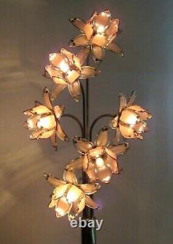 BIG Lotus Murano Italian Glass Side Lamp Vintage Antique Flowers