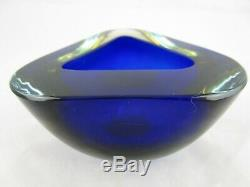 BIG Murano Poli Seguso era blue amber art glass triangle geode bowl vintage
