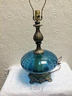Beautiful Vintage Blue Murano Glass Hollywood Regency Lamp