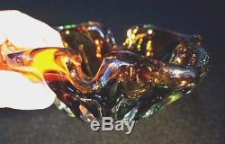 Beautiful Vintage Murano Amber And Green Heavy Glass Bowl