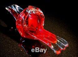 Beautiful Vintage Murano Ruby Glass Centerpiece Bowl