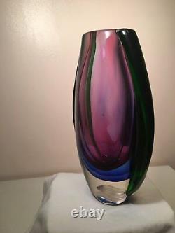 Beautiful Vintage Original Mid Century Modern Sommerso Murano Art Glass Vase
