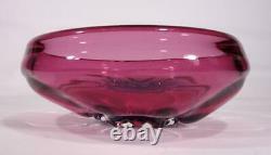 Beautiful Vintage Retro Italian Murano Art Glass Bowl Cranberry Blue