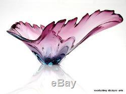 Beautiful XL Vintage Murano Free Formed Art Glass Lobe Dish majenta Pale blue