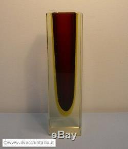 Big massive vintage sommerso Mandruzzato glass vase Murano Italy design