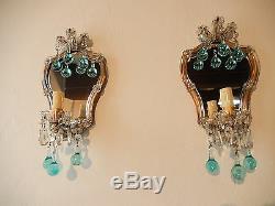 C 1920 French Aqua Blue Murano Drops Mirrors Sconces Original Vintage