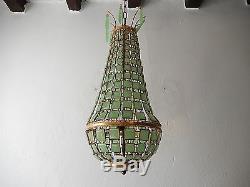 C 1930 Venetian Rare Empire Green Opaline Squares Basket Chandelier Vintage