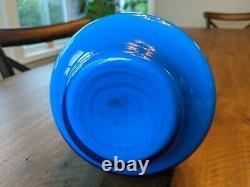 Carlo Moretti Empoli Murano Blue Cased Glass Jug Pitcher Ewer vintage MCM