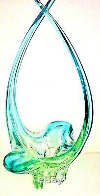 Chalet Lorraine Murano Vintage Uranium Aqua Glass Basket Art Collectibles Glows