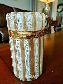 Dino Martens Vintage MURANO Art GLASS Latticino & Aventurine Striped HINGED BOX