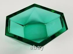 Emerald Green Vintage Murano Faceted Glass Box