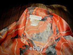 Escada Vintage Silk Blouse In Shades Of Peach Blue Murano Glass Print 38 10-12