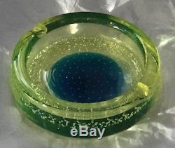Estate Vintage Galliano Ferro Murano Uranium Glass Bullicante Ashtray Bowl