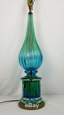 Exceptional Vintage Seguso Murano Art Glass Lamp LARGE Blue Green 24