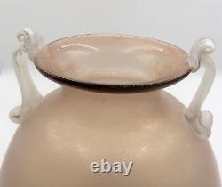 Fabulous Vintage Murano Pink Handled Glass Scavo Style Vase By Cenedese