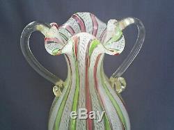 Fine Vintage Venetian Murano Latticino Zanfirico Ribbon Gold Leaf Art Glass Vase