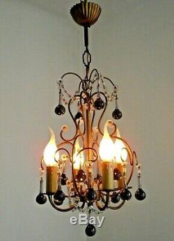 French Vintage Gilt Brass 4 Arm Ceiling Light Purple Murano Glass Droplets 1046