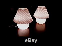 GENUINE 16 VINTAGE MID CENTURY VETRI MURANO GLASS Pink MUSHROOM LAMP ITALY/one