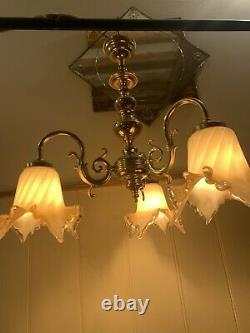 Genuine Venini Murano Glass, 3 Branch Chandelier, Italian Light, Vintage Venice