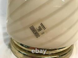 Gorgeous Large Vintage Vetri Murano Glass Cream Beige Swirl Table Lamp