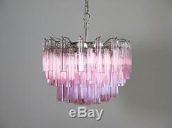 Gorgeous Murano vintage chandelier 107 pink quadriedri