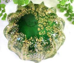 Gorgeous Vtg. Barovier Murano Glass Ashtray Green With Heavy Gold Aventurine