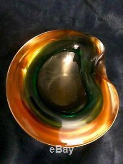 Gorgeous Vtg MCM Seguso Murano Italian Art Glass Sommerso Geode Bowl