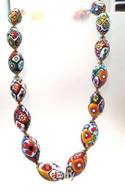 Gorgeous Vtg. Murano Millefiori Glass Bead Necklace