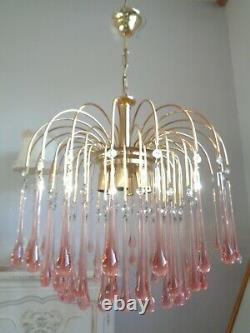 Gorgeous huge vintage waterfall chandelier pale pink Murano glass drops