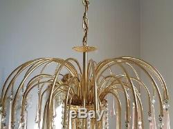 Gorgeous large vintage Italian chandelier pink Murano glass drops