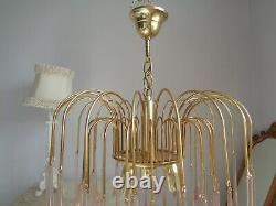 Gorgeous large vintage waterfall chandelier pale pink Murano glass drops