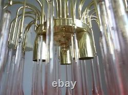 Gorgeous large vintage waterfall chandelier pink Murano glass drops