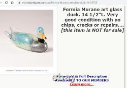 HUGE 15 vintage Murano Formia Mian Giuliano silver foil glass duck sculpture