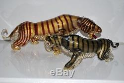 HUGE Vintage Barbini Murano Glass Tiger 18 inches Long