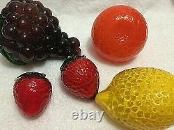 Hand Blown Glass Fruit & Vegetables Vintage Murano Art Deco Lot of 14 pieces