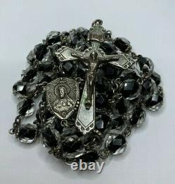 Htf Vintage Sterling Black & Clear Murano Faceted Glass Rosary Necklace 30