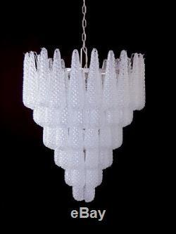 Huge Italian vintage Murano glass chandelier 74 glass petals drop