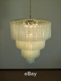 Huge Vintage Murano Glass Tiered Chandelier 78 glasses opal silk