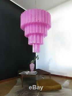 Huge Vintage Murano Glass Tiered Chandelier 78 glasses pink fuxia silk