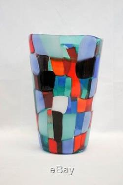 Important Fulvio Bianconi Pezzato Vase Vintage Murano Glass Acid Stamp