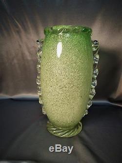 Important Rare Vintage Murano Bolicine Pulegoso Art Glass Green Vase Venini Era