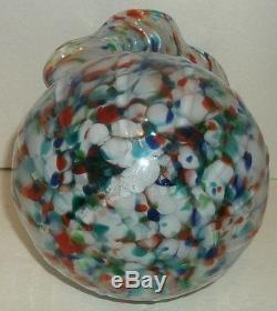 Italian Murano Splatter Art Glass Vase Scalloped Rim Large Vintage Multi Colored