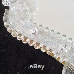 Italian Venetian Murano Glass Crystal Hand Vanity Mirror Floral Wall Decor Vtg